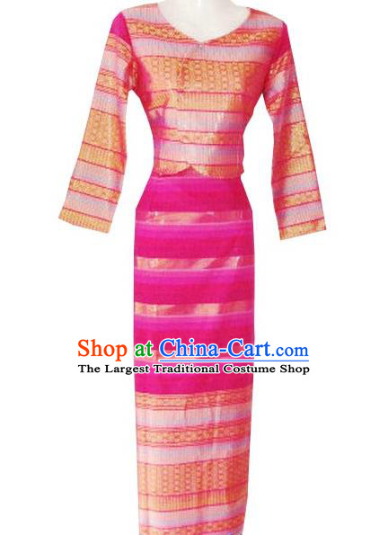 Chinese Dai Nationality Folk Dance Costumes Traditional Dai Ethnic Stage Show Red Blouse and Straight Skirt for Women