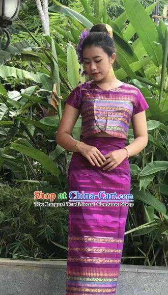 Chinese Dai Nationality Folk Dance Costumes Traditional Dai Ethnic Stage Show Purple Blouse and Straight Skirt Complete Set