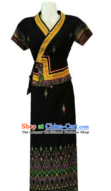 Chinese Dai Nationality Stage Show Outfit Costumes Traditional Dai Ethnic Folk Dance Black Blouse and Straight Skirt Complete Set