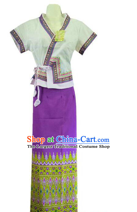 Chinese Dai Nationality Stage Show Outfit Costumes Traditional Dai Ethnic Folk Dance White Blouse and Purple Straight Skirt Complete Set