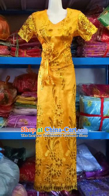 Yellow Chinese Dai Nationality Embroidered Outfit Costumes Traditional Dai Ethnic Folk Dance Blouse and Straight Skirt Full Set
