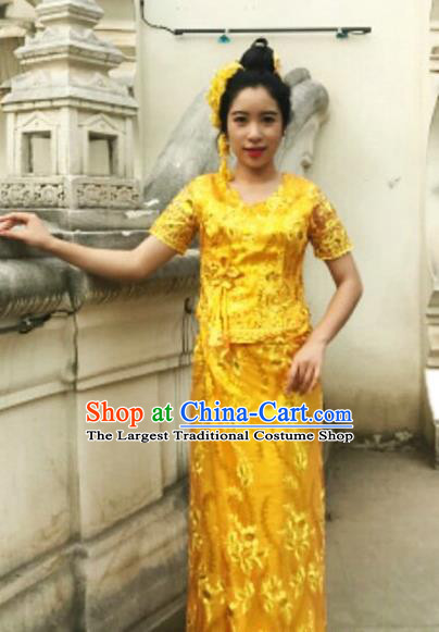 Golden Chinese Dai Nationality Embroidered Outfit Costumes Traditional Dai Ethnic Folk Dance Blouse and Straight Skirt Full Set