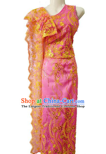 Traditional Chinese Dai Nationality Embroidered Pink Outfit Costumes Dai Ethnic Dance Blouse and Straight Skirt with Tippet Veil