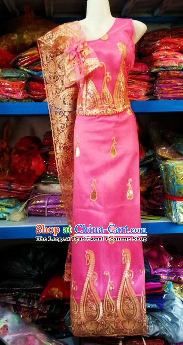 Traditional Chinese Dai Nationality Pink Blouse and Straight Skirt Outfit Dai Ethnic Dance Costumes with Tippet Veil