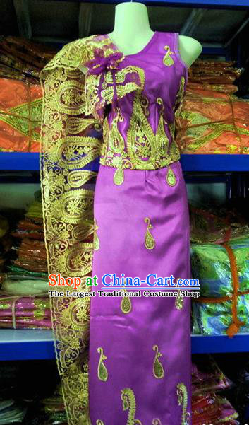Traditional Chinese Dai Nationality Purple Blouse and Straight Skirt Outfit Dai Ethnic Dance Costumes with Tippet Veil
