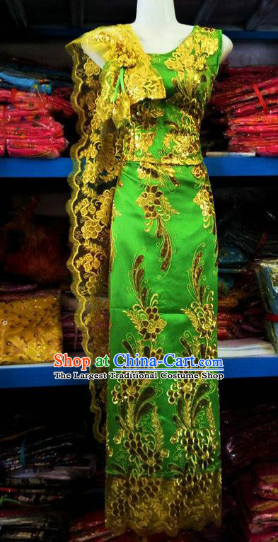 Traditional Chinese Dai Nationality Green Sleeveless Blouse and Straight Skirt Outfit Dai Ethnic Dance Costumes with Tippet Veil