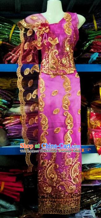 Traditional Chinese Dai Nationality Purple Sleeveless Blouse and Straight Skirt Outfit Dai Ethnic Dance Costumes with Tippet Veil