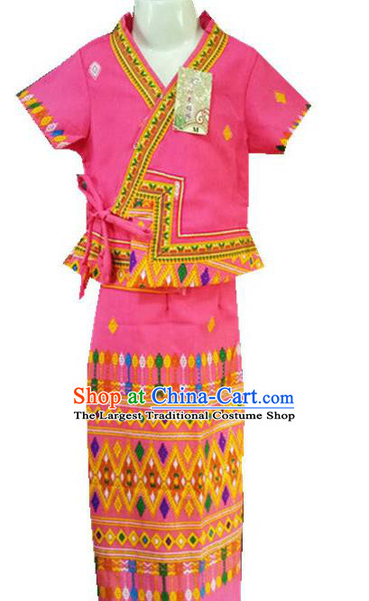 Chinese Dai Nationality Girl Dress Costumes Traditional Dai Ethnic Children Pink Blouse and Straight Skirt for Kids