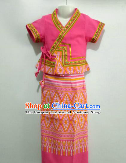 Chinese Dai Nationality Girl Dress Costumes Traditional Dai Ethnic Children Peach Pink Blouse and Straight Skirt for Kids