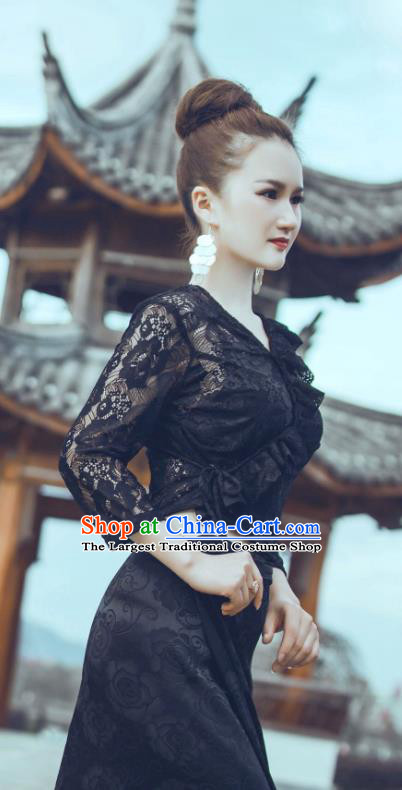 Traditional Chinese Dai Nationality Black Lace Blouse and Straight Skirt Outfit Dai Ethnic Dance Fashion Costumes