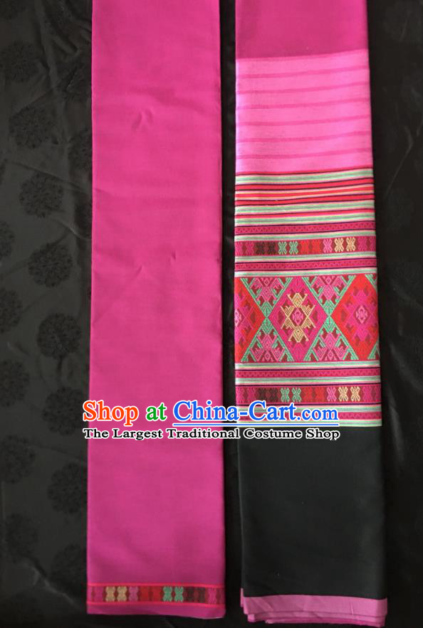 Chinese Traditional Dai Ethnic Magenta Straight Skirt Dai Nationality Dance Dress Xishuangbanna Costumes for Women