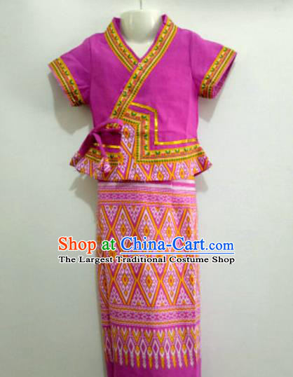 Chinese Dai Nationality Girl Dress Costumes Traditional Dai Ethnic Children Purple Blouse and Straight Skirt for Kids