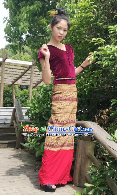 Chinese Dai Nationality Fashion Costumes Traditional Dai Ethnic Wine Red Velvet Blouse and Straight Skirt Outfits
