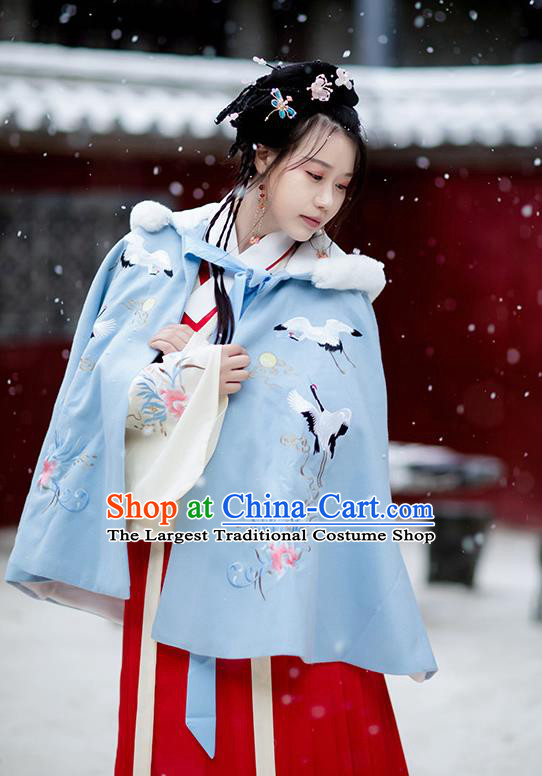 Chinese Ming Dynasty Young Lady Costumes Traditional Hanfu Garment Ancient Embroidered Crane Blue Short Cloak for Women