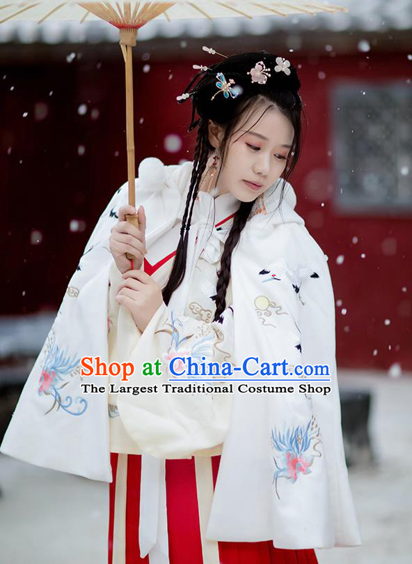Chinese Ming Dynasty Princess Costumes Traditional Hanfu Garment Ancient Embroidered Crane White Short Cloak for Women