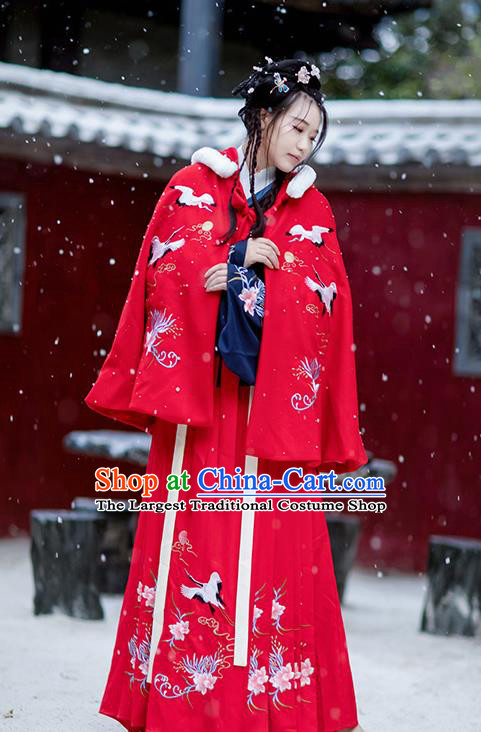 Chinese Ming Dynasty Woolen Costumes Traditional Winter Hanfu Garment Ancient Embroidered Crane Red Short Cloak for Women
