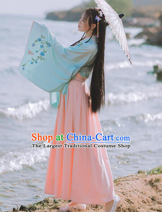Chinese Jin Dynasty Patrician Lady Costumes Traditional Ancient Princess Hanfu Garment Embroidered Blouse and Skirt Full Set