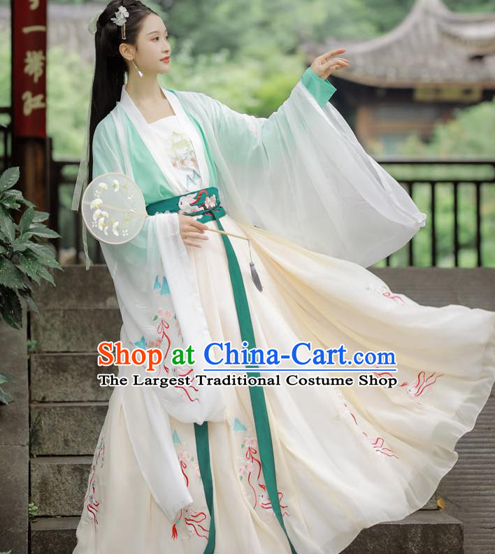 Chinese Tang Dynasty Palace Princess Costumes Traditional Ancient Court Lady Embroidered Cape Blouse and Skirt Hanfu Apparels Full Set