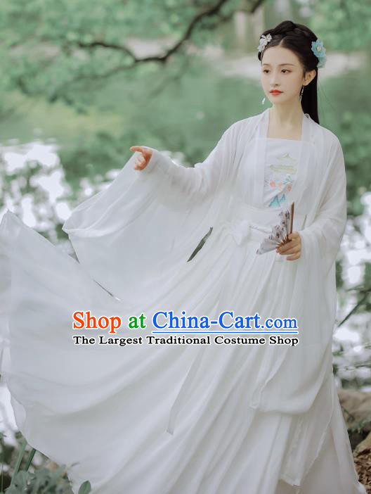 Chinese Ming Dynasty Young Female Costumes Traditional Hanfu Apparels Ancient Nobility Lady White Cape Blouse and Skirt Complete Set