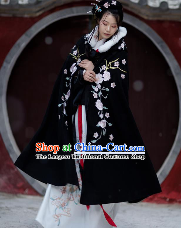 Chinese Ming Dynasty Embroidered Peony Cloak Costumes Traditional Ancient Hanfu Garment Winter Black Woolen Cape for Women