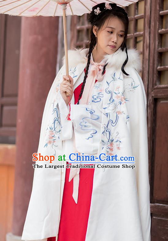 Chinese Ming Dynasty Embroidered White Hooded Cloak Costumes Traditional Ancient Hanfu Garment Winter Woolen Cape for Women