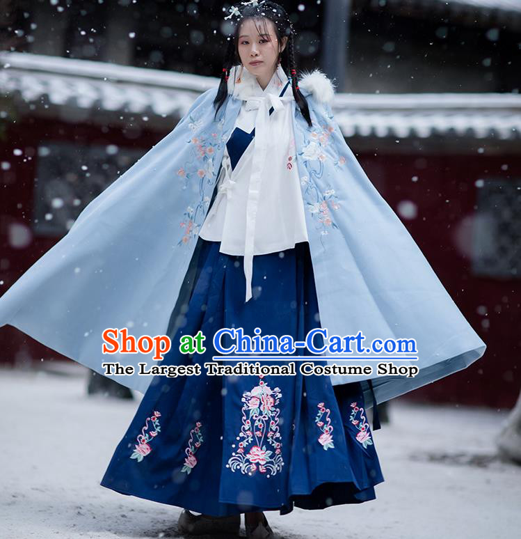 Chinese Ming Dynasty Embroidered Blue Hooded Cloak Costumes Traditional Ancient Hanfu Garment Winter Woolen Cape for Women