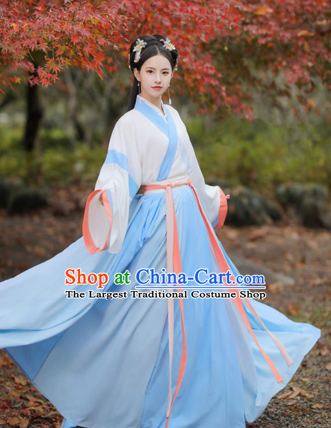 Chinese Jin Dynasty Patrician Female Costumes Traditional Ancient Hanfu Garment Blouse and Skirt for Young Lady