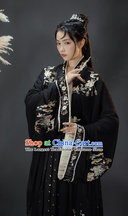 Traditional Chinese Jin Dynasty Swordsman Costumes Ancient Noble Childe Hanfu Garment Embroidered Black Blouse and Skirt Full Set