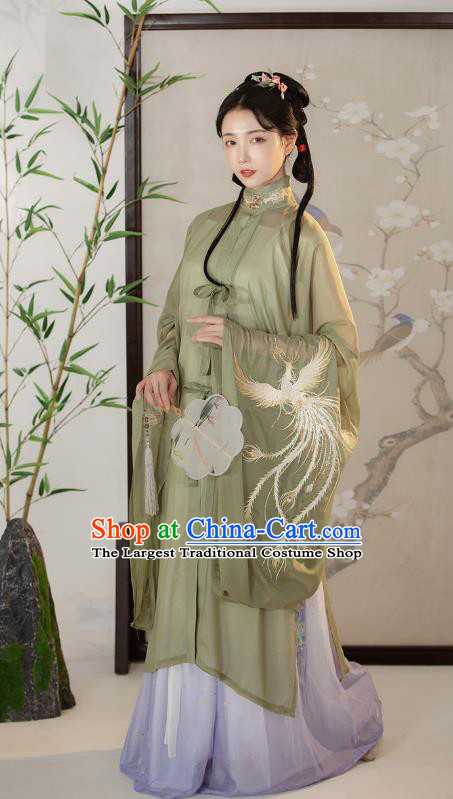 Traditional Chinese Ming Dynasty Court Female Costumes Ancient Princess Hanfu Garment Embroidered Green Blouse and Lilac Skirt Complete Set