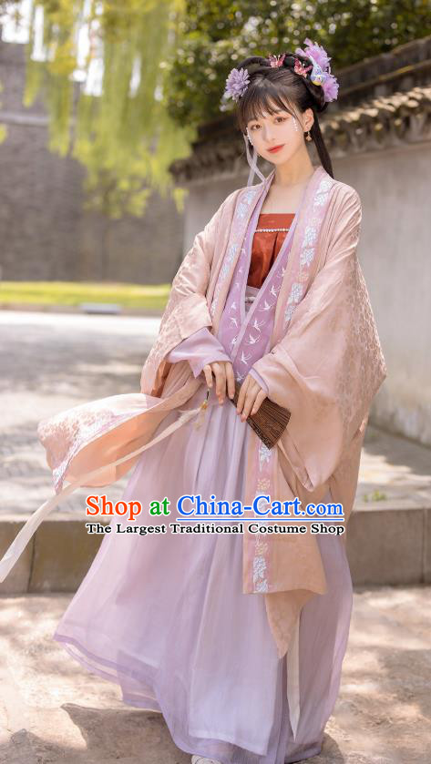 Chinese Song Dynasty Palace Princess Costumes Traditional Ancient Court Lady Hanfu Garment BeiZi Top Blouse and Skirt Full Set