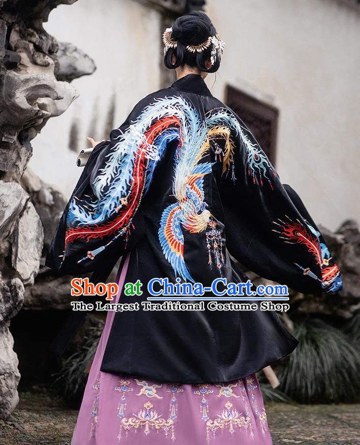 Chinese Ming Dynasty Empress Costumes Traditional Ancient Royal Queen Garment Hanfu Embroidered Black Cloak Blouse and Skirt Complete Set