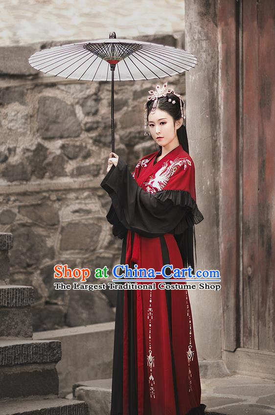 Chinese Jin Dynasty Royal Princess Embroidered Costumes Traditional Ancient Swordswoman Garment Hanfu Dress Red Blouse and Skirt Full Set