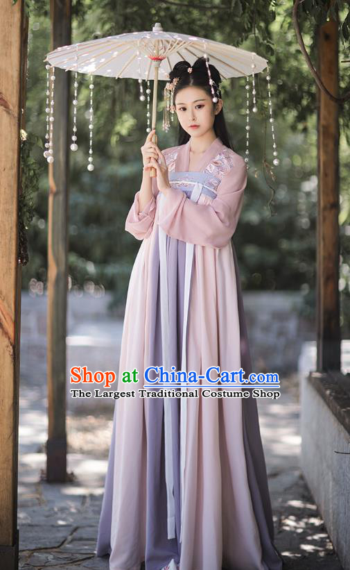 Traditional Chinese Tang Dynasty Costumes Ancient Palace Lady Hanfu Garment Embroidered Blouse and Dress for Women