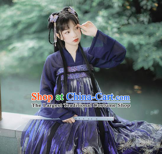 Chinese Traditional Ancient Tang Dynasty Palace Lady Costumes Classical Hanfu Purple Blouse and Dress Set