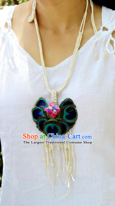 Chinese Handmade Miao Nationality Embroidered Necklace Traditional Minority Ethnic Peacock Feather Necklet Accessories for Women