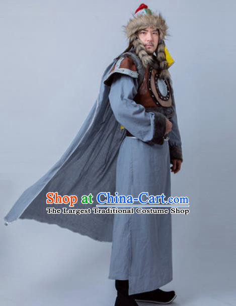 Chinese Ancient General Armor Costume Drama Huns King Clothing for Men