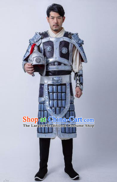 Chinese Traditional Three Kingdoms Period General Armor Costume Drama Ancient Military Officer Zhao Yun Clothing and Helmet for Men