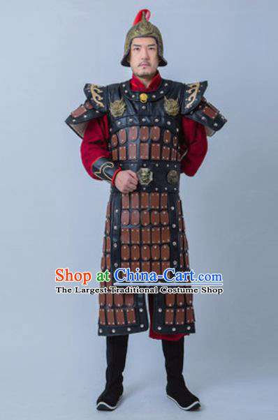 Chinese Traditional Han Dynasty General Armor Costume Drama Ancient Warrior Clothing and Helmet for Men