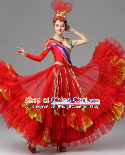 Traditional Chinese Opening Dance Red Dress Modern Dance Stage Performance Costume for Women