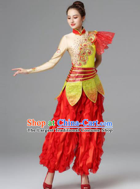 Traditional Chinese Folk Dance Red Outfits Drum Dance Dress Yangko Dance Stage Performance Costume for Women