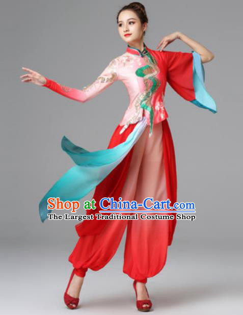 Traditional Chinese Folk Dance Red Outfits Classical Dance Dress Umbrella Dance Stage Performance Costume for Women