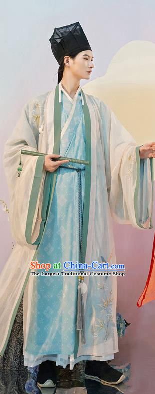 Traditional Chinese Song Dynasty Scholar Hanfu Apparels Ancient Nobility Childe Historical Costumes Cloak and Gown Full Set