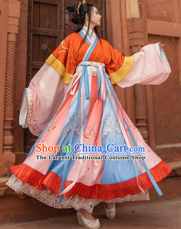 Traditional Chinese Jin Dynasty Royal Princess Hanfu Dress Apparels Ancient Goddess Historical Costumes Full Set for Women