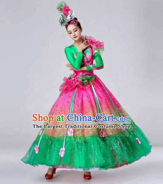 Traditional Chinese Peony Dance Outfits Classical Dance Green Dress Opening Dance Stage Performance Costume for Women