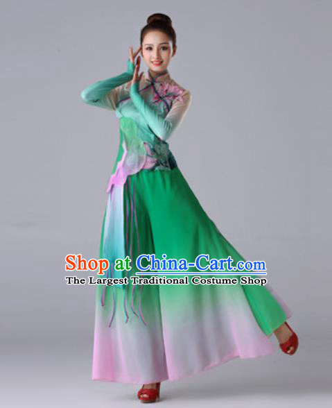 Traditional Chinese Umbrella Dance Green Outfits Classical Dance Dress Fan Dance Stage Performance Costume for Women
