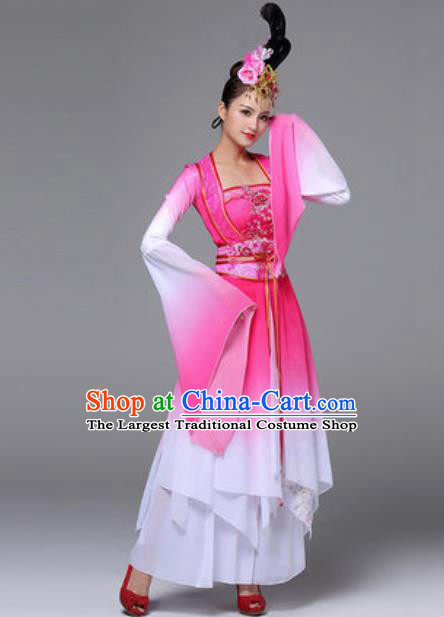 Traditional Chinese Classical Dance Outfits Fan Dance Rosy Dress Umbrella Dance Stage Performance Costume for Women