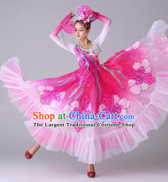 Traditional Chinese Peach Blossom Dance Outfits Classical Dance Pink Dress Opening Dance Stage Performance Costume for Women