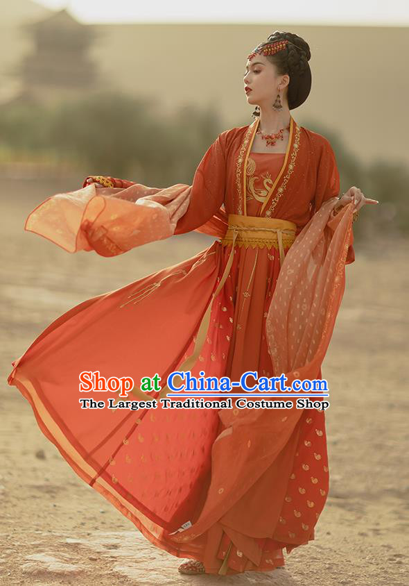 Traditional Chinese Tang Dynasty Dance Lady Red Hanfu Dress Apparels Ancient Nobility Female Historical Costumes Full Set