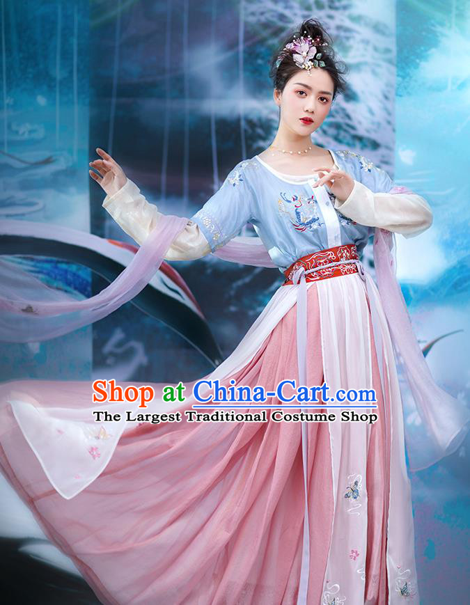 Traditional Chinese Ancient Goddess Hanfu Dress Apparels Tang Dynasty Palace Lady Embroidered Historical Costumes Complete Set