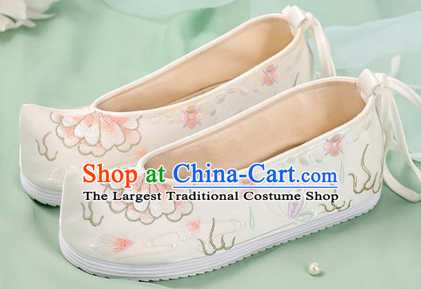 Chinese Traditional National Shoes White Cloth Shoes Embroidered Peony Shoes Hanfu Shoes Women Shoes Handmade Shoes